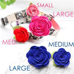 Dog Collar Rose Flower -- 24 Colors