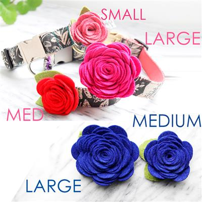 Dog Collar Rose Flower -- 24 Colors