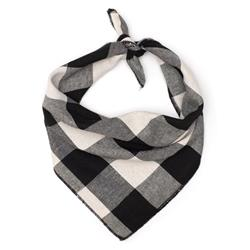 Large Buffalo Plaid Black & White Tie Bandana