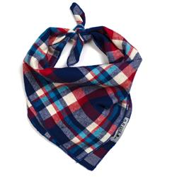 Navy/Red/Turq plaid tie bandana