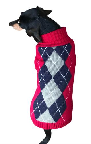 Red Argyle Sweater -NEW