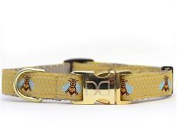 Honey Bee Dog Collar Silver Metal Buckles