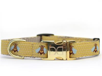 Honey Bee Dog Collar Gold Metal Buckles