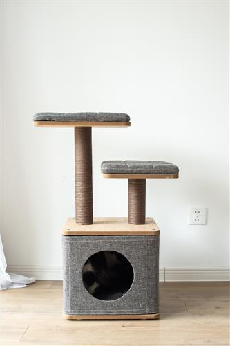 Two-level scale particle board Cat Tree condo