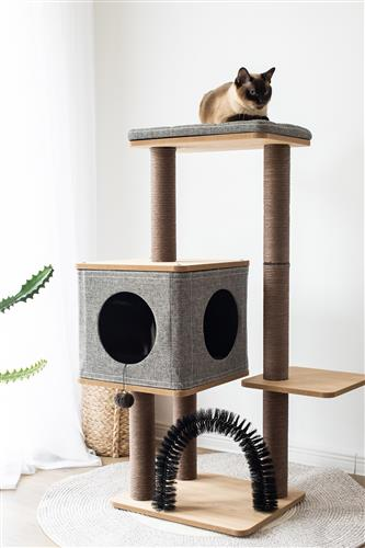 Three-level elevated Cat Tree condo with massage and particle board