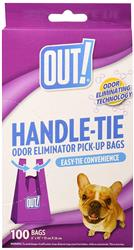 OUT! Easy-Tie Handle Pet Waste Bags, 100 Bags