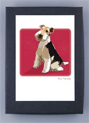 Grrreen Boxed Note Cards: Fox Terrier Sitting