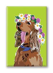 Fridge Magnet: Springer W/ Flower Tiara