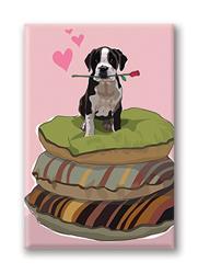 Fridge Magnet: Pit Bull Pup on 3 Beds