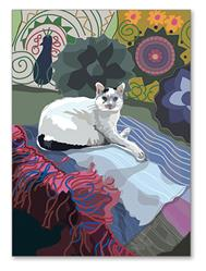 Greeting Card: Birthday - Cat on Blanket