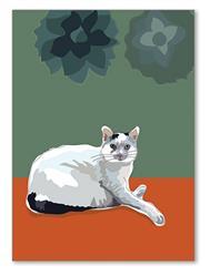 Greeting Card: Friendship: Cat sitting W/ Flowers