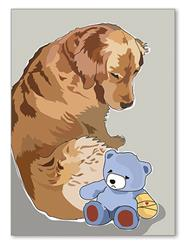 Greeting Card: Get Well - Golden W/ Teddy Bear