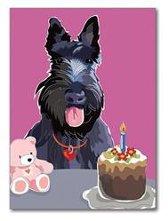 Greeting Card: Birthday - Scottish Terrier W/ Bear & Cake
