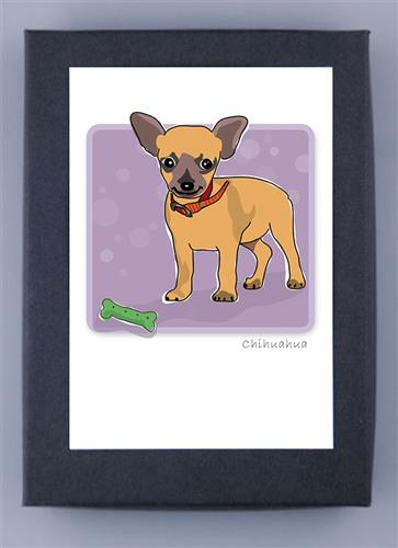 Grrreen Boxed Note Cards: Chihuahua W/ Bone Standing