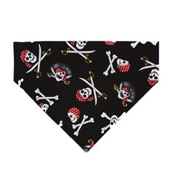 "Halloween Skull Pirates ""Ahoy Matey"" Dog Bandana - Over the Collar Style in 5 Sizes 