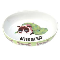"After My Nap Grumpy Cat® 7"" Oval Bowl, Green, 2 Cups"