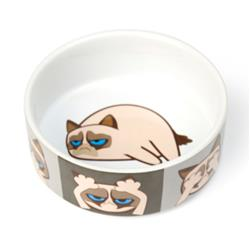 "Here/See/Speak No Evil Grumpy Cat® 5"" Bowl, Gray, 2 Cups"