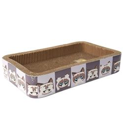 Here/See/Speak No Evil Grumpy Cat® Corrugated Cat Scratcher, Gray