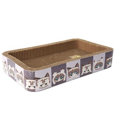 Here/See/Speak No Evil Grumpy Cat® Corrugated Cat Scratcher, Gray