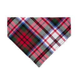 Red Tartan Flannel Plaid Dog Bandana - Over the Collar Style in 5 Sizes |  BUY 10 GET 1 FREE