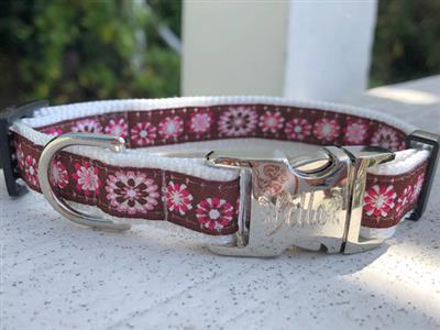 Garden Party Dog Collar Rose Gold Buckles