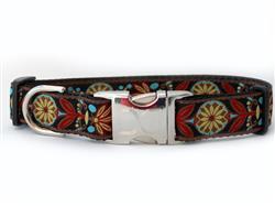 Mandala Star Parisian Deco Dog Collar Silver Metal Buckles