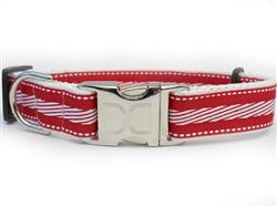 Candy Cane Lane Collar Silver Metal Buckles
