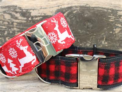 Reindeer Crossing Extra Wide Martingale Dog Collar
