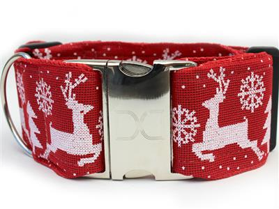 Reindeer Crossing Extra Wide Dog Collar