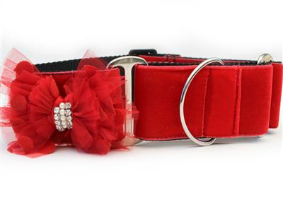Mrs. Claws Red Velvet Extra Wide Martingale Dog Collar