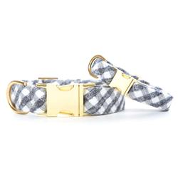 Gray and White Check Flannel Dog Collar