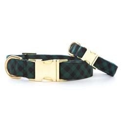 Green and Black Check Flannel Dog Collar