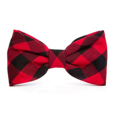 Red and Black Buffalo Check Plaid Dog Bow Tie