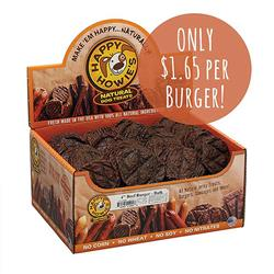 """Happy Howie Dog Beef Burger 4"""" 60 Pack"""