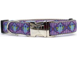 Queen Bee Blueberry Pie Dog Collar Silver Buckle