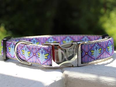 Queen Bee Blueberry Pie Dog Collar Rose Gold Buckle