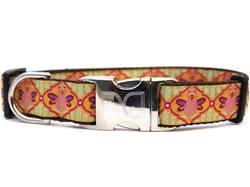 Queen Bee Pink Lemonade Dog Collar Silver Buckle