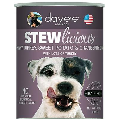 DAVE'S PET FOOD DOG STEWLICIOUS TURKEY, SWEET POTATO & CRANBERRY STEW 13OZ (CASE OF 12)