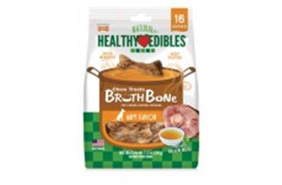 NYLABONE HEALTHY EDIBLES BONE BROTH HAM SMALL POUCH 16CT