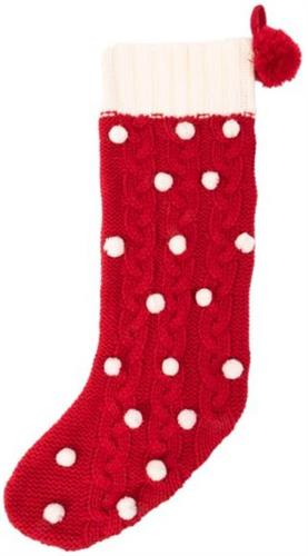 Pom Cable Knit Stocking