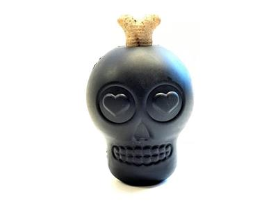 MuttsKickButt by SodaPup - Natural Rubber Magnum Black Sugar Skull Dog Chew Toy and Treat Dispenser for Aggressive Chewers, Guaranteed Tough, Made in USA, Black, Large