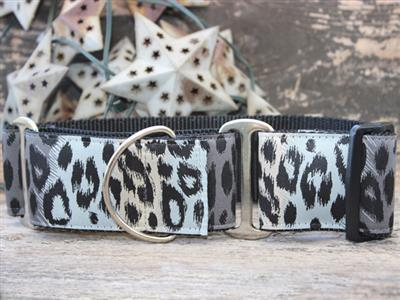 Midnight Leopard Extra Wide Martingale Dog Collar