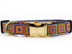 Squares Dog Collar with Gold Metal Buckles