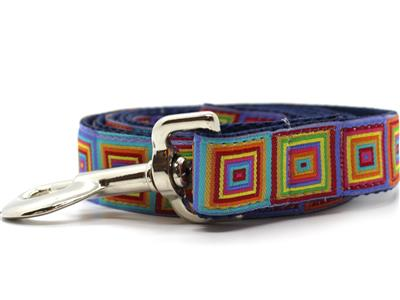 Squares Dog Collar with Silver Metal Buckles