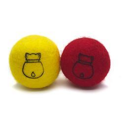 CATNIP FELT BALL RED/YELLOW SET