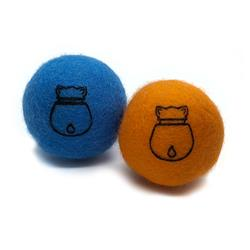 CATNIP FELT BALL ORANGE/BLUE SET
