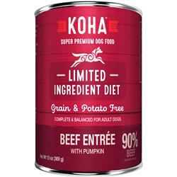 KOHA 90% Beef with Fresh Pumpkin - 13oz Cans - Limited Ingredient Diet