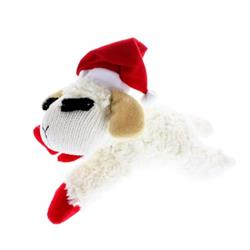 Multipet Holiday Lamb Chop with Santa Hat Laying Down