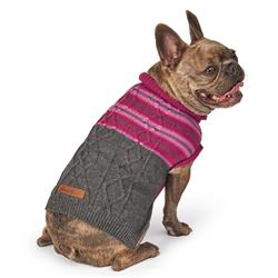 Eddie Bauer PET Ashford Stripe Cable Sweater in Plum Wine/Gray by PetRageous Designs!