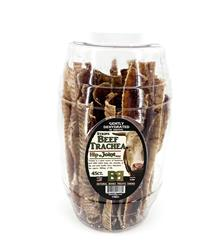 "Large Beef Trachea Moo-Hoos Strips 9""-10"" - 45 count Barrel"